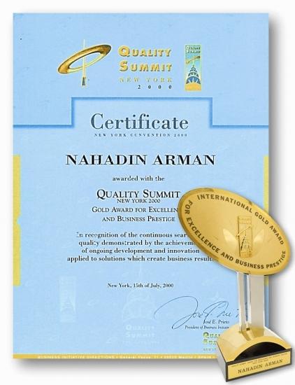 برنده تندیس طلایی از انجمن کیفیت آمریکا